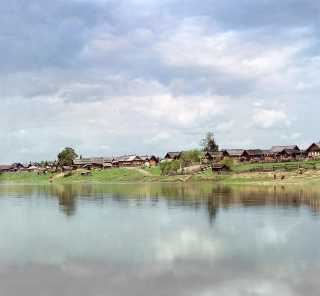 Деревня Родина на Чусовой в 1912 году. Автор: С.М. Прокудин-Горский, 1912 г.