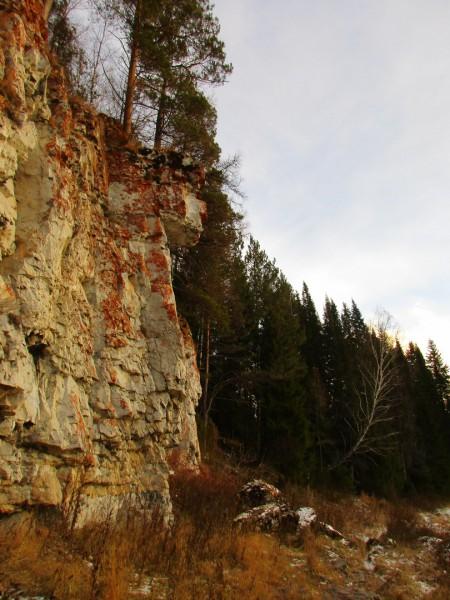 Интересный камень с богатыми лишайниками, который возвышается перед высотной грядой бойца Переволошного. Автор: Михаил Латышев