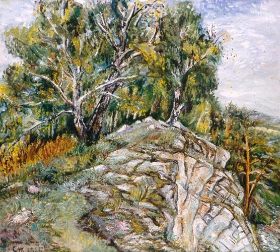 На скалах. Картина Светланы Тарасовой, 1985 год.. Автор: С.В. Тарасова