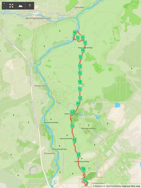 Наш маршрут на Соколинку: протяженность - 23 км, перепад по высоте - 281м.. Автор: Константин Теличко