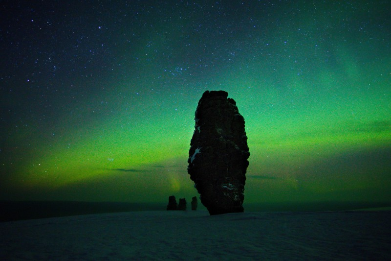 Северное сияние на плато Маньпупунёр. Автор: Евгений Жаравин